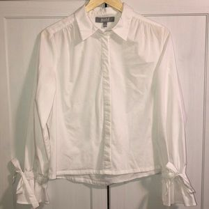 Tops - Ruffle Sleeve Bow Blouse